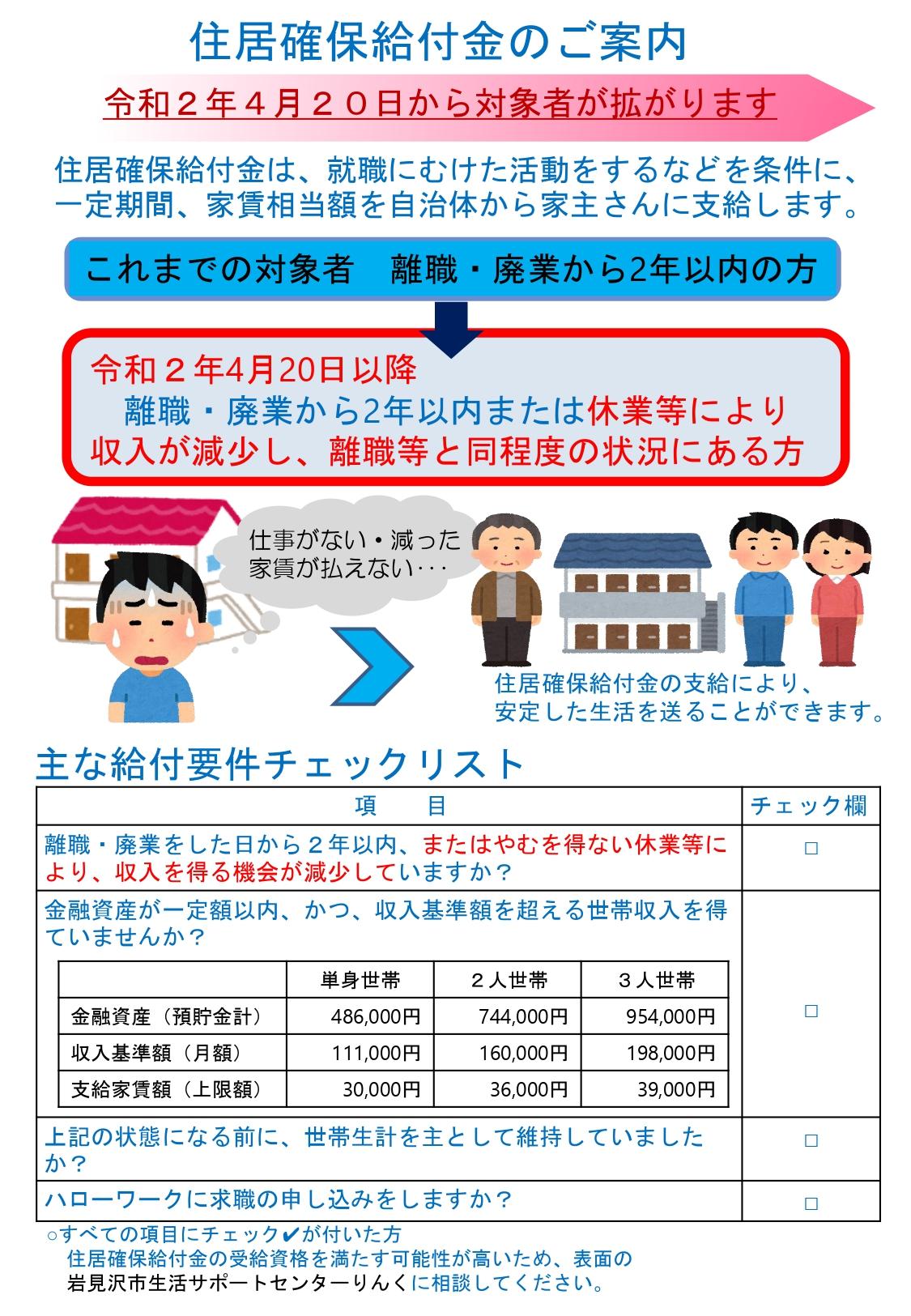 画像:住居確保給付金のご案内